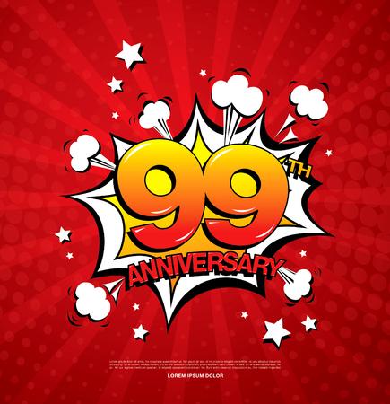 99th anniversary emblem. Ninety nine years anniversary celebration symbol