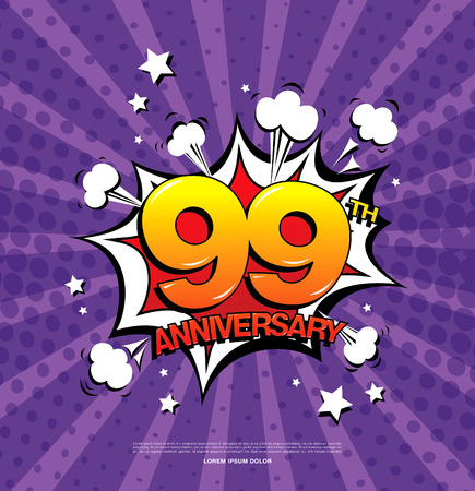 ninth: 99th anniversary emblem. Ninety nine years anniversary celebration symbol