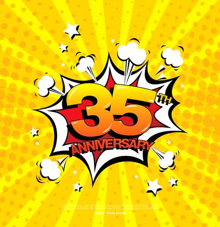 35th anniversary emblem. Thirty five years anniversary celebration symbol