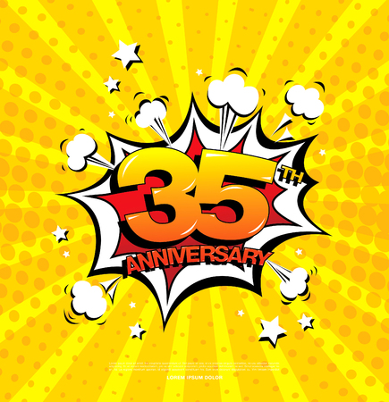 35th anniversary emblem. Thirty five years anniversary celebration symbol