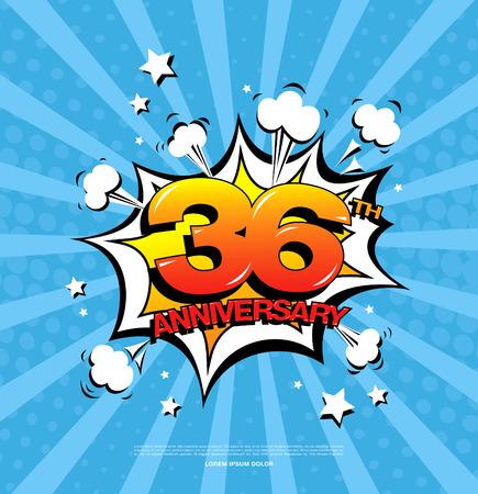 36th anniversary emblem. Thirty six years anniversary celebration symbol