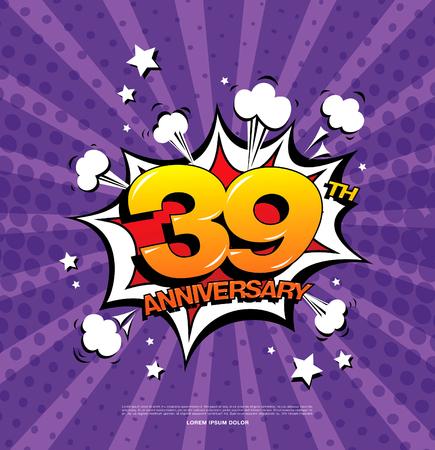 39th anniversary emblem. Thirty nine years anniversary celebration symbol