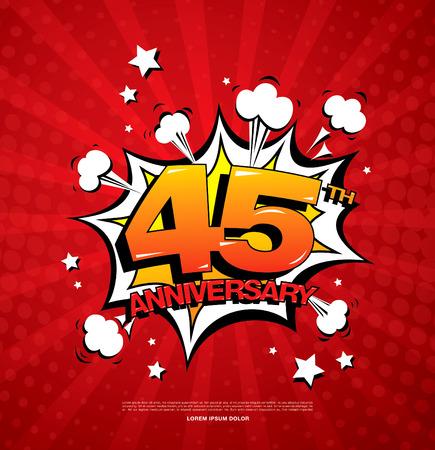 45th: 45th anniversary emblem. Forty five years anniversary celebration symbol