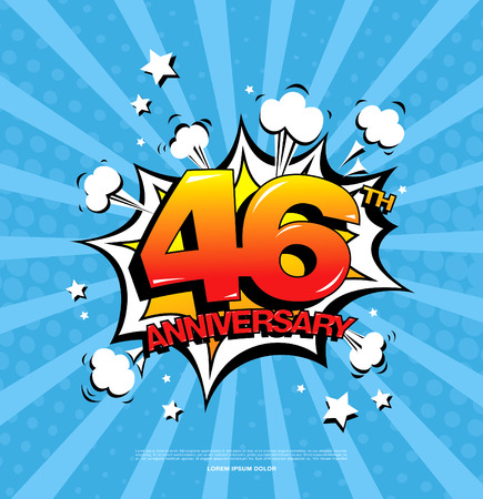 46th anniversary emblem. Forty six years anniversary celebration symbol