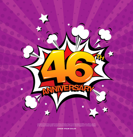 sixth birthday: 46th anniversary emblem. Forty six years anniversary celebration symbol