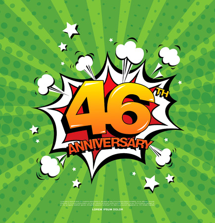 46th anniversary emblem. Forty six years anniversary celebration symbol