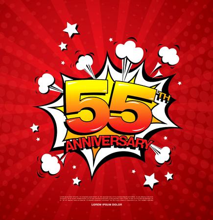 55th anniversary emblem. Fifty five years anniversary celebration symbol Illustration