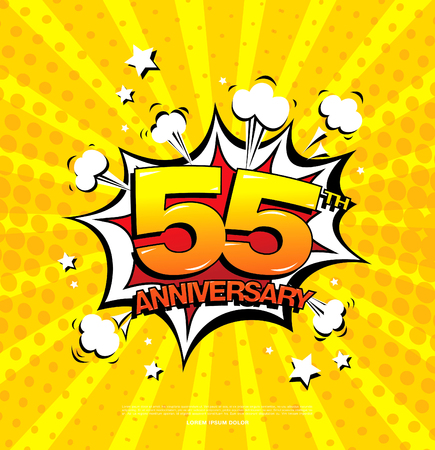 55th anniversary emblem. Fifty five years anniversary celebration symbol Illustration