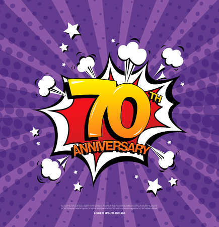 70th anniversary emblem. Seventy years anniversary celebration symbol Illustration