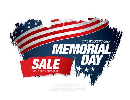 Memorial day sale banner. Illustration