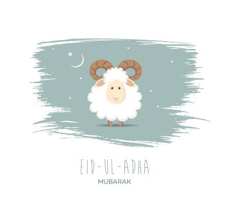 Greeting card for Muslim Community Festival of Sacrifice Eid-Ul-Adha. Vector illustration Stok Fotoğraf - 76466349