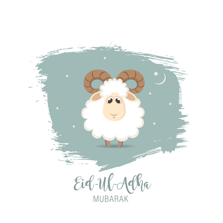 Greeting card for Muslim Community Festival of Sacrifice Eid-Ul-Adha. Ilustrace