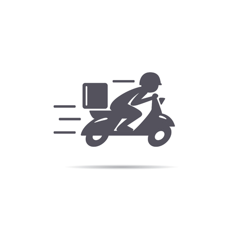 A man is riding a scooter. Delivery icon