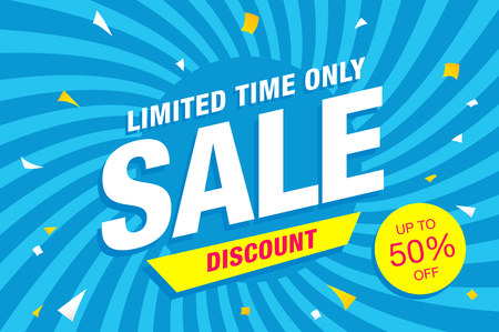 tally: Sale template banner in bright colors, vector illustration