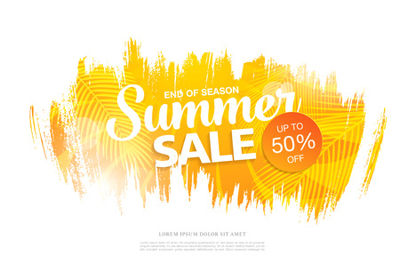 half price: Summer sale template banner in bright colors, vector illustration Illustration