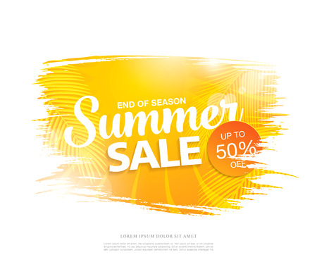 Summer sale template banner in bright colors, vector illustration Illustration