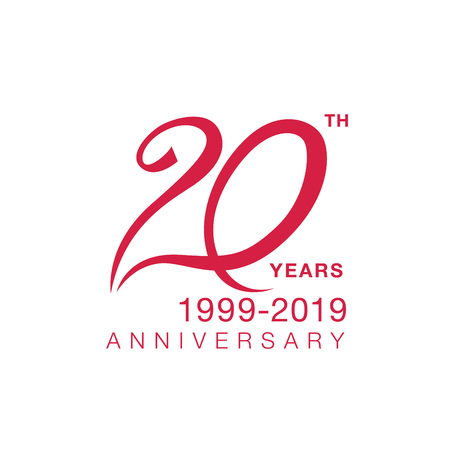 20th anniversary emblem. Twenty years anniversary celebration symbol