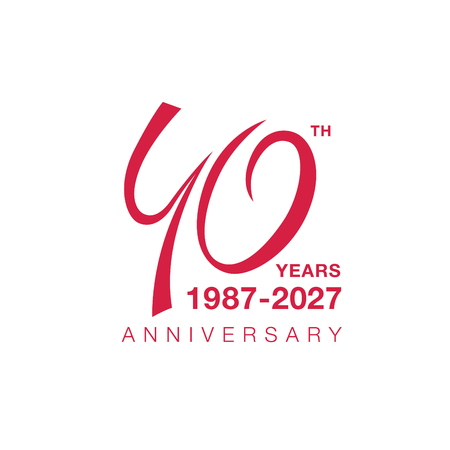 40th anniversary emblem. Forty years anniversary celebration symbol