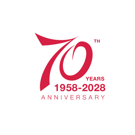 70th anniversary emblem. Seventy years anniversary celebration symbol