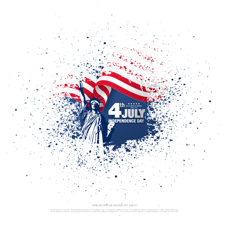Fourth of July Independence Day, brush stroke background 向量圖像