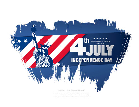 Fourth of July Independence Day, brush stroke background Illustration