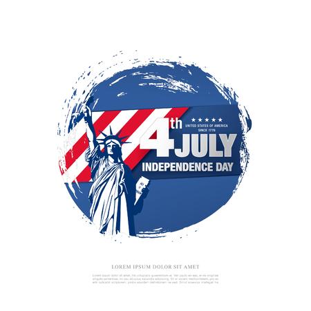 Fourth of July Independence Day, brush stroke background Illustration