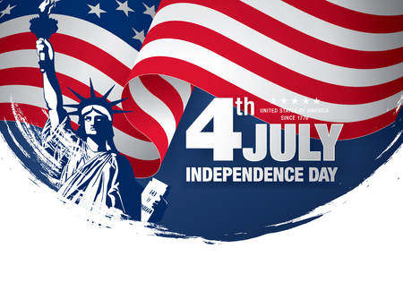 Fourth of July Independence Day, brush stroke background Vettoriali