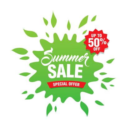 Summer sale template banner in bright colors, vector illustration Illustration