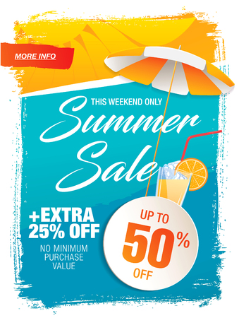 Summer sale template banner in bright colors, vector illustration Reklamní fotografie - 78450887