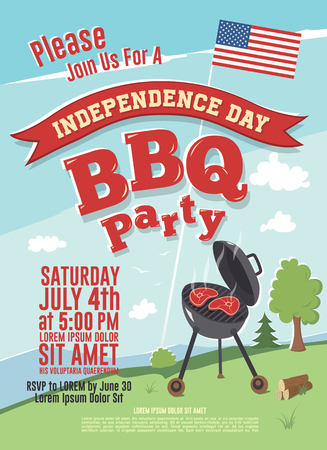 Invitation to the Independence Day party, vector illustration