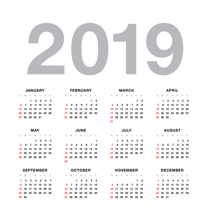 単純なベクトル カレンダー 2019