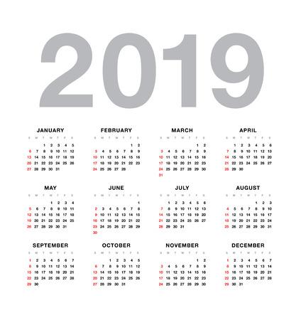 Einfacher Vektorkalender 2019 Standard-Bild - 79268991