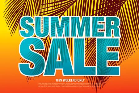 総: Summer sale template banner in bright colors, vector illustration  イラスト・ベクター素材
