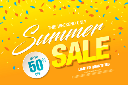 Summer sale template banner in bright colors, vector illustration  イラスト・ベクター素材