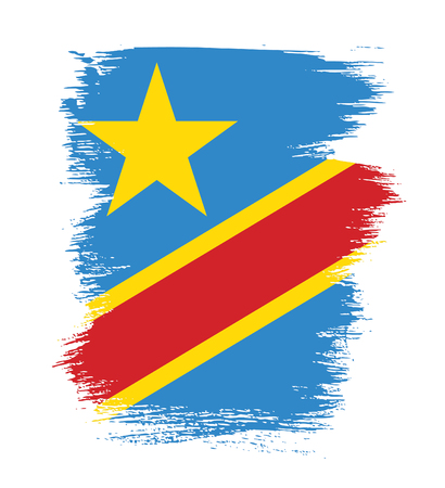 Flag of the Democratic Republic of the Congo, brush stroke background
