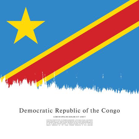 politicians: Flag of the Democratic Republic of the Congo, brush stroke background