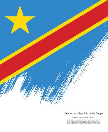 Flag of the Democratic Republic of the Congo, brush stroke background