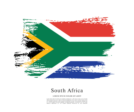 Flag of South Africa brush stroke background Imagens - 116992901