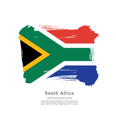 Flag of South Africa, brush stroke background 일러스트