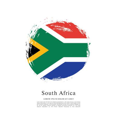 nationalism: Flag of South Africa, brush stroke background Illustration
