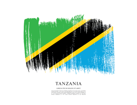Flag of Tanzania, brush stroke background  イラスト・ベクター素材