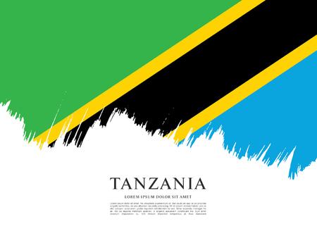 tanzania: Flag of Tanzania, brush stroke background Illustration