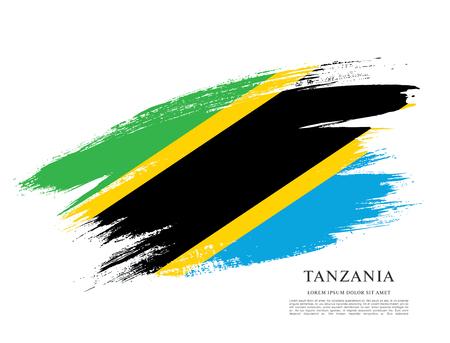 Flag of Tanzania, brush stroke background Illustration