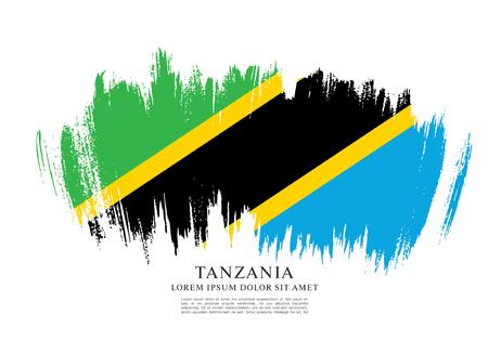 nationalism: Flag of Tanzania, brush stroke background Illustration