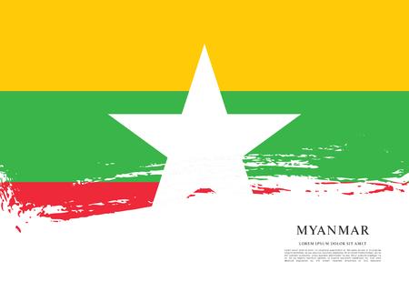 politicians: Flag of Myanmar, brush stroke background.