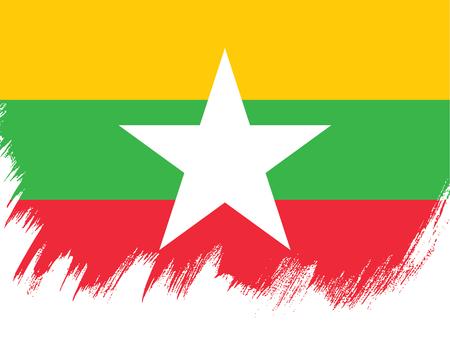 Flag of Myanmar, brush stroke background