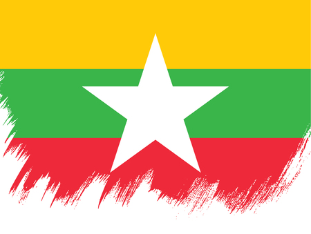 Flag of Myanmar, brush stroke background