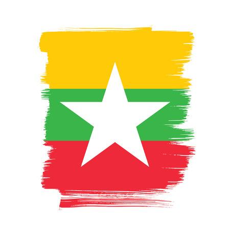 politicians: Flag of Myanmar, brush stroke background