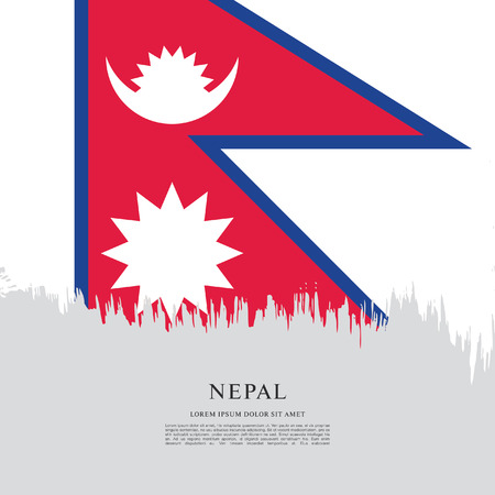 Flag of Nepal brush stroke background Illusztráció