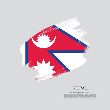 Flag of Nepal brush stroke background Illustration